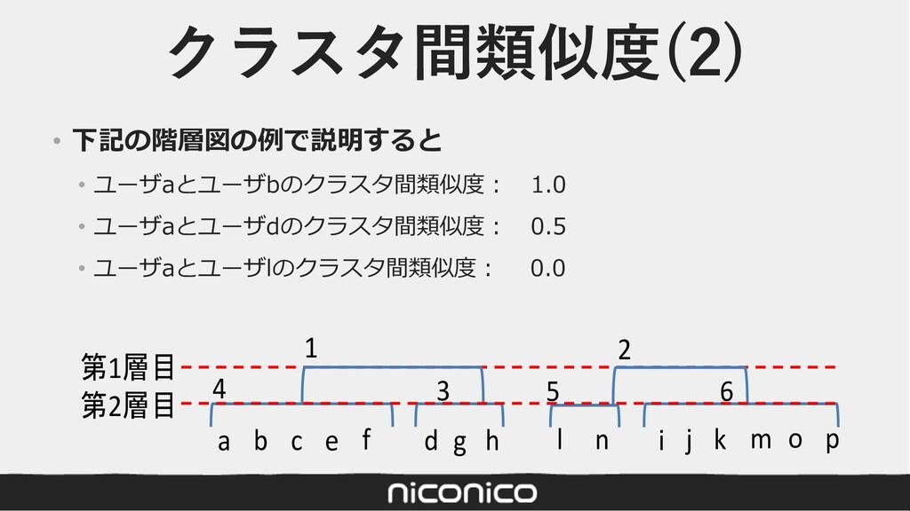クラスタ間類似度(2) • 下記の階層図の例で説明すると • ユーザaとユーザbのクラスタ間類...