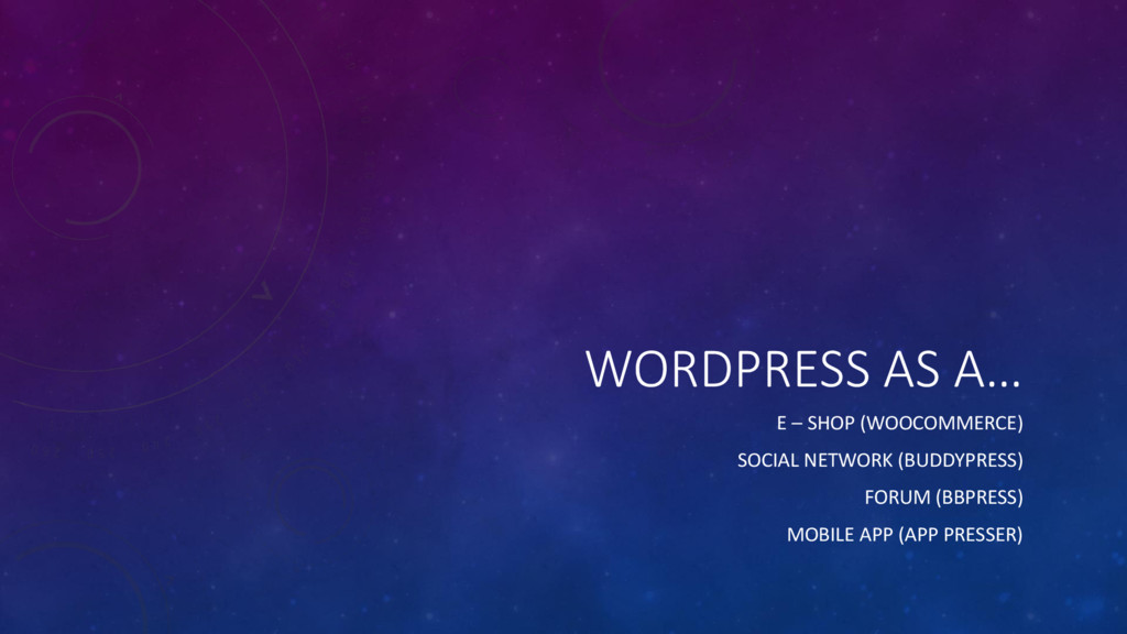 WORDPRESS AS A… E – SHOP (WOOCOMMERCE) SOCIAL N...