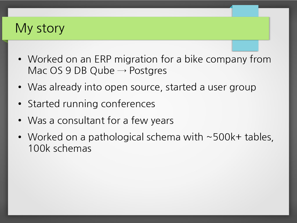 My story ● Worked on an ERP migration for a bik...