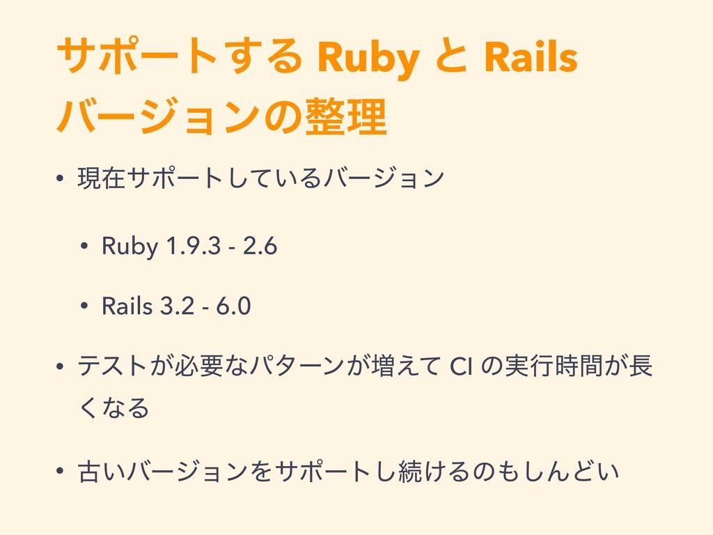 αϙʔτ͢Δ Ruby ͱ Rails όʔδϣϯͷཧ • ݱࡏαϙʔτ͍ͯ͠Δόʔδϣϯ ...