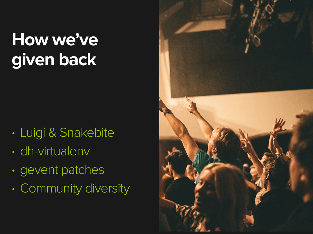 How we've given back • Luigi & Snakebite • dh-v...