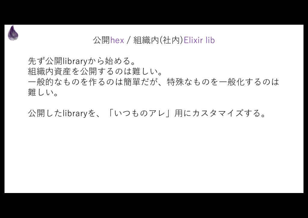公開hex / 組織内(社内)Elixir lib 先ず公開libraryから始める。 組織内...