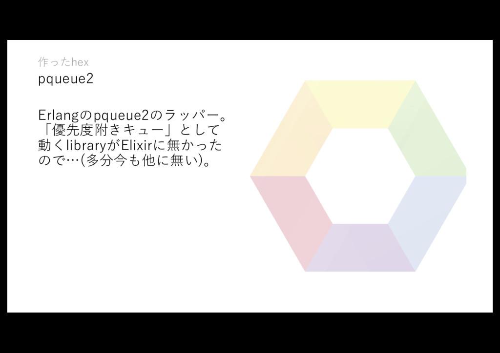 作ったhex pqueue2 Erlangのpqueue2のラッパー。 「優先度附きキュー」と...