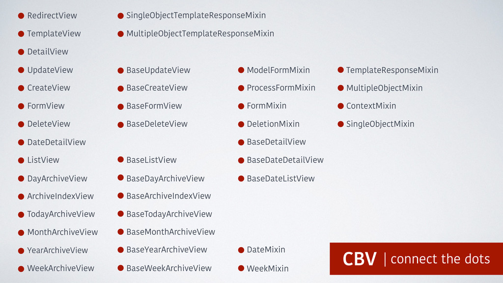 RedirectView TemplateView DetailView UpdateView...