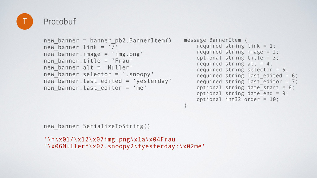 Protobuf T message BannerItem { required string...