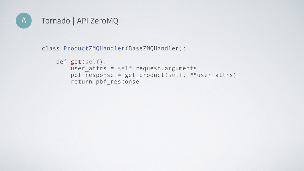 A Tornado | API ZeroMQ class ProductZMQHandler(...