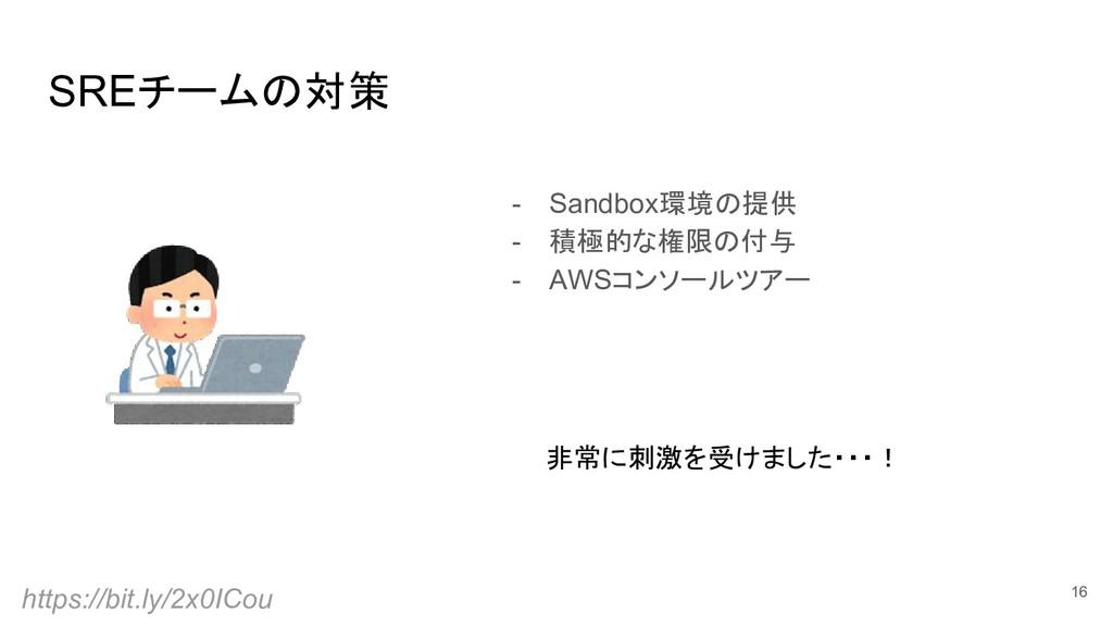 SREチームの対策 16 - Sandbox環境の提供 - 積極的な権限の付与 - AWSコン...