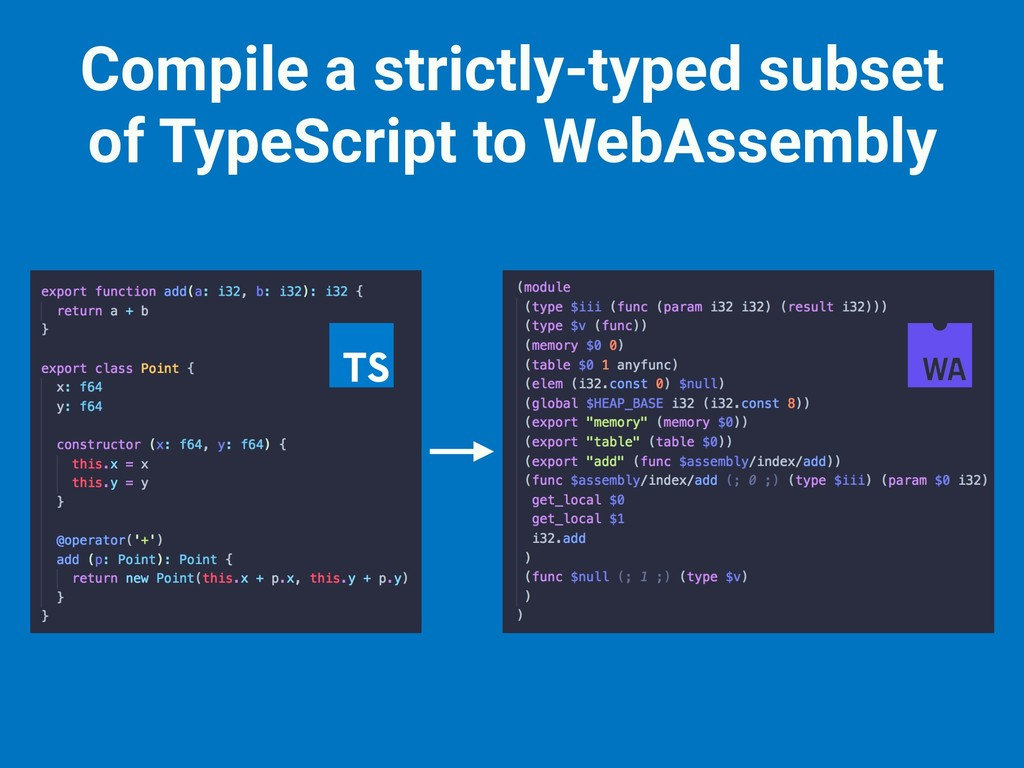 Compile a strictly-typed subset of TypeScript t...