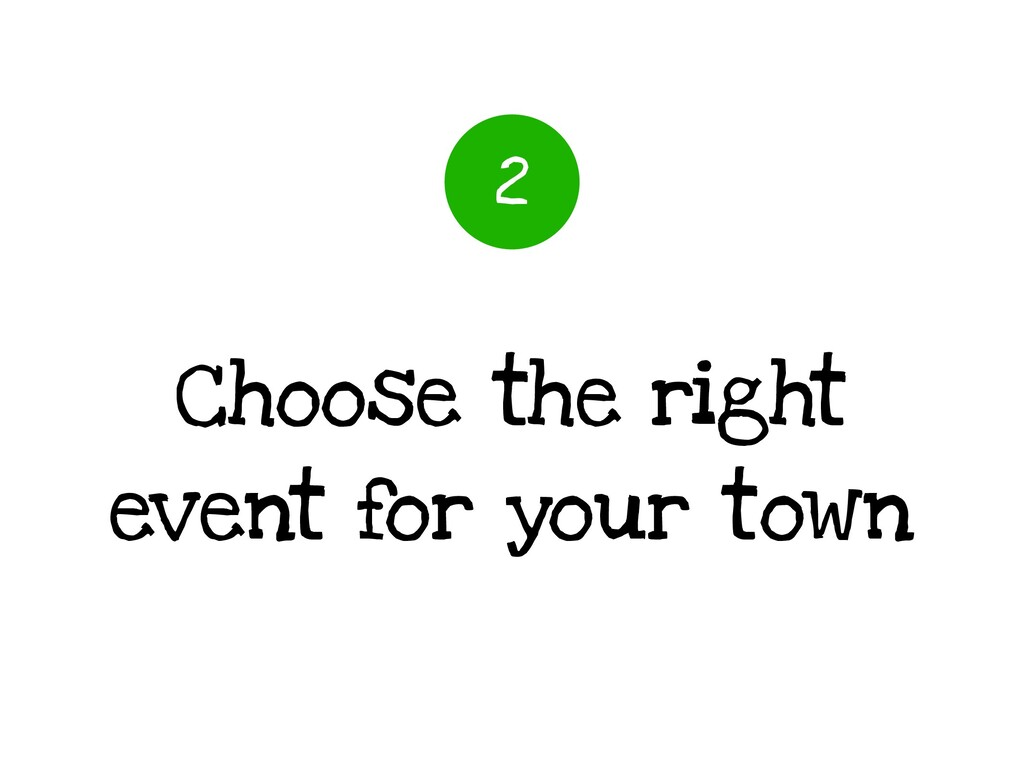 Choose the right event for your town 2