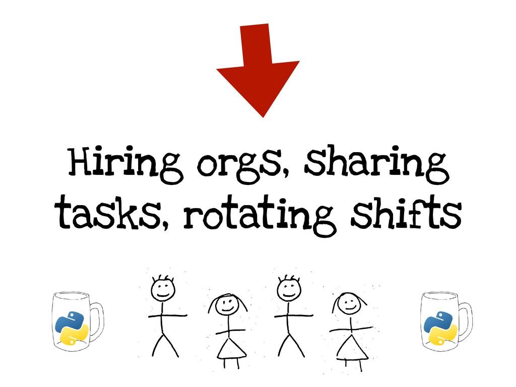 Hiring orgs, sharing tasks, rotating shifts