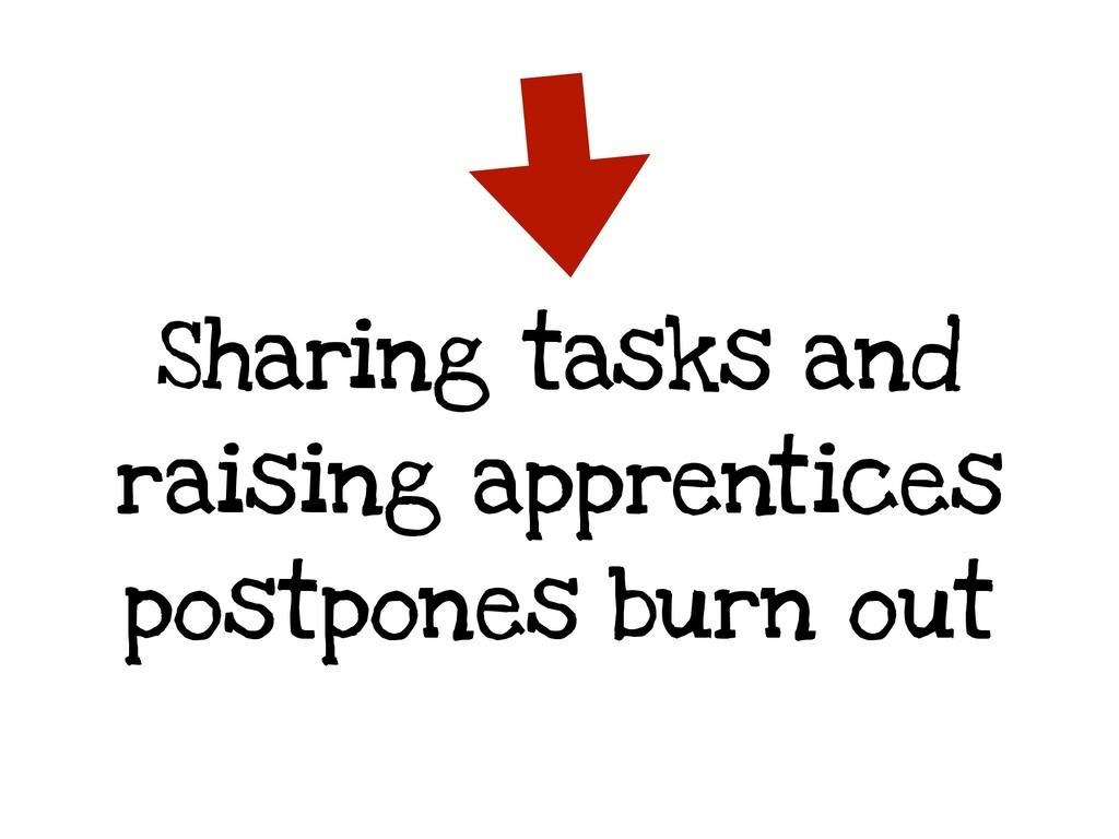 Sharing tasks and raising apprentices postpones...