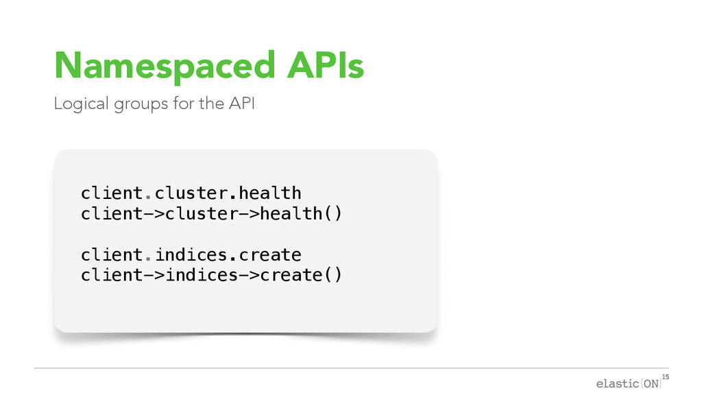 { } Namespaced APIs Logical groups for the API ...