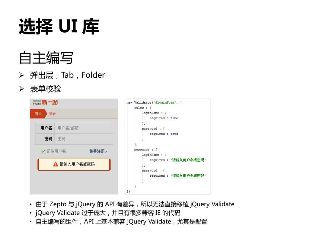 选择 UI 库 自主编写  弹出层,Tab,Folder  表单校验 • 由于 Zepto...