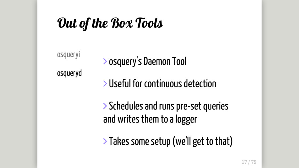 osqueryi osqueryd  osquery's Daemon Tool  Use...