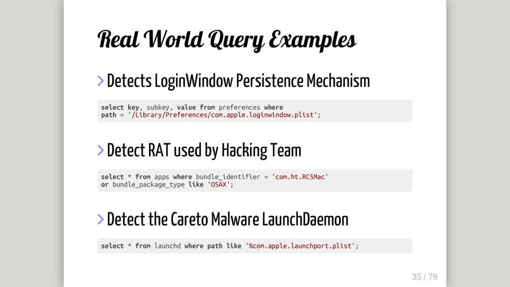 Real World Query Examples  Detects LoginWindow...