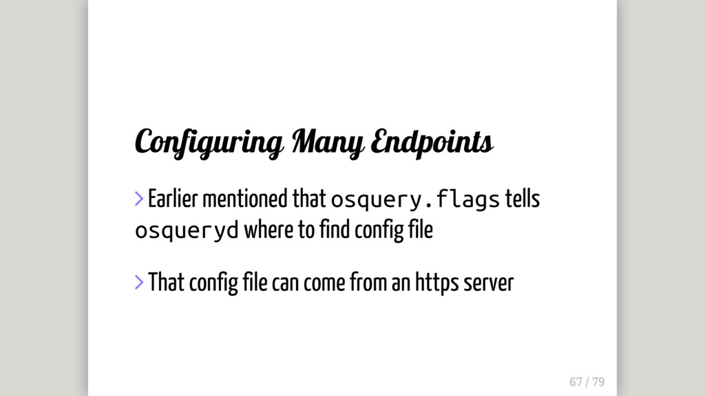 Configuring Many Endpoints  Earlier mentioned ...