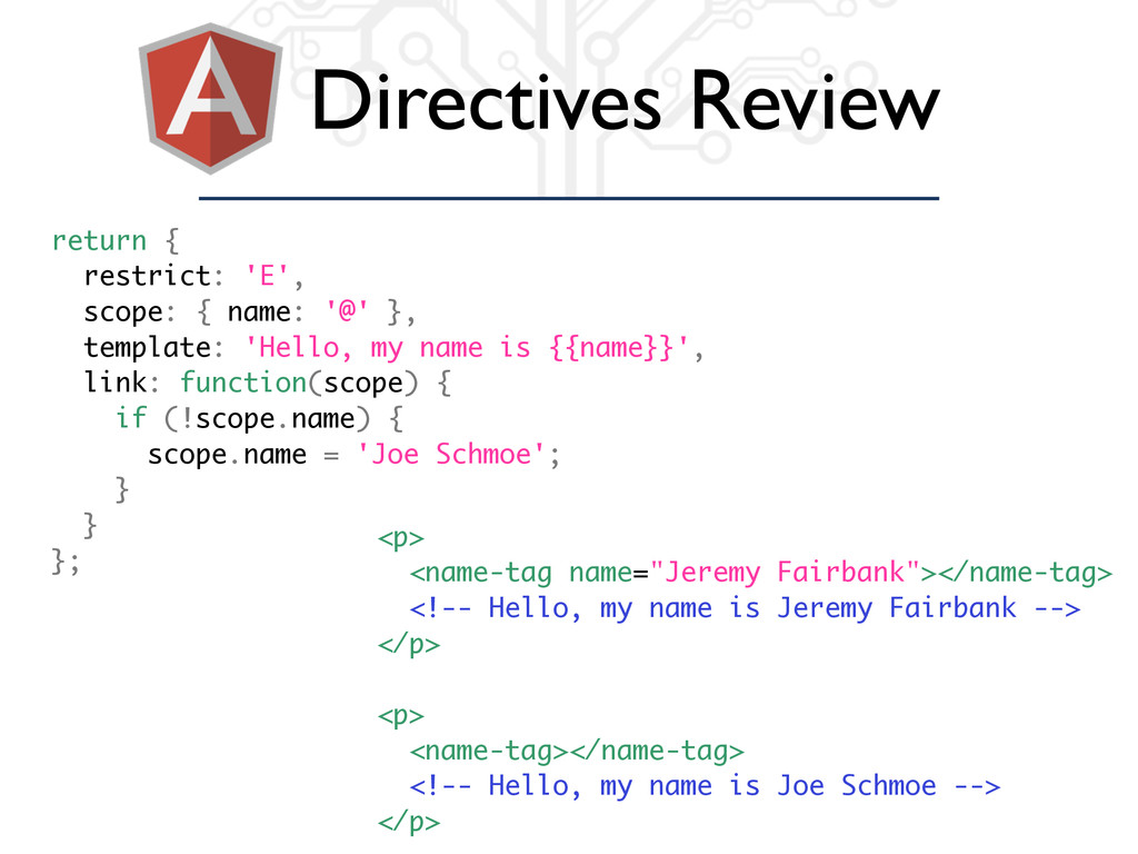 Directives Review return { restrict: 'E', scope...