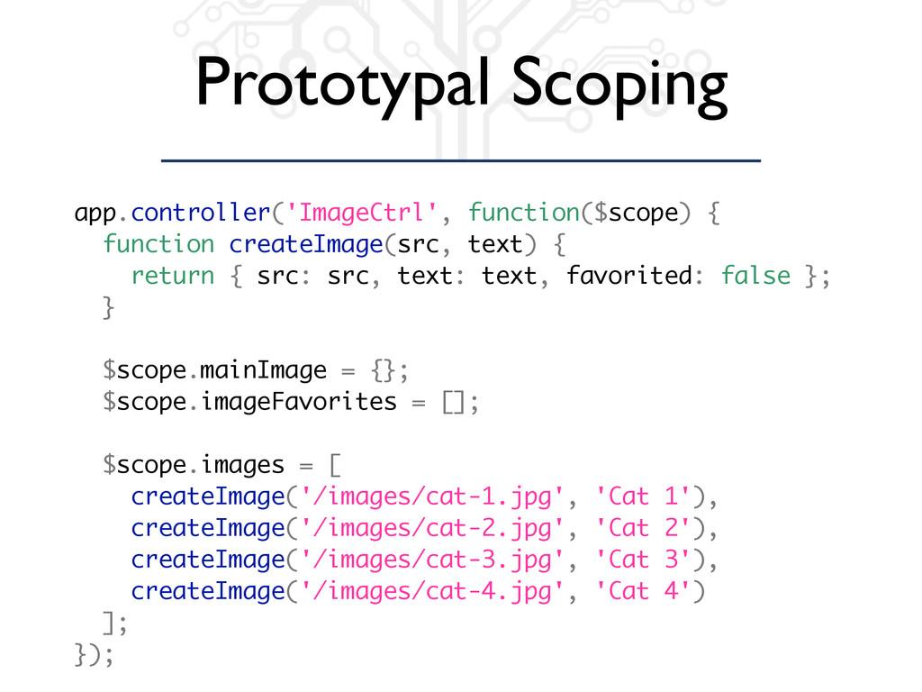 Prototypal Scoping app.controller('ImageCtrl', ...