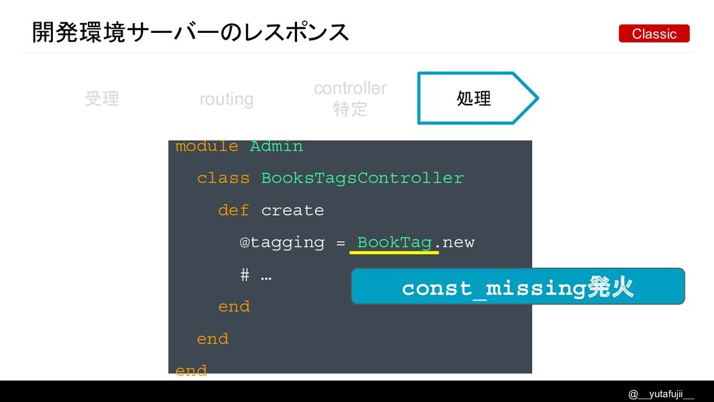 @__yutafujii__ 開発環境サーバーのレスポンス 受理 routing contro...