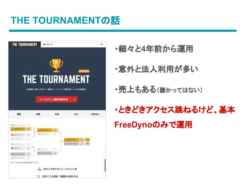 THE TOURNAMENTの話 ・細々と4年前から運用 ・意外と法人利用が多い ・売上もある...