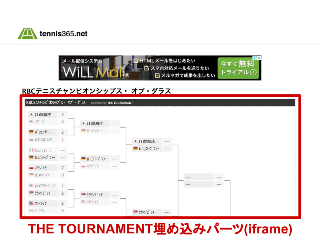 THE TOURNAMENT埋め込みパーツ(iframe)
