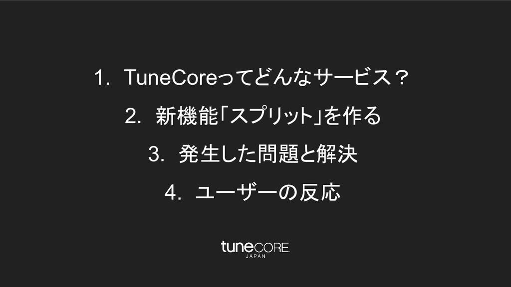 1. TuneCoreってどんなサービス? 2. 新機能「スプリット」を作る 3. 発生した問...