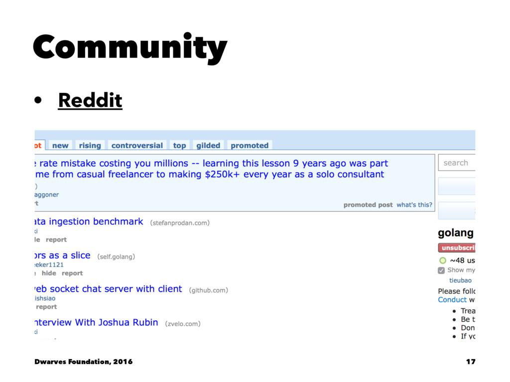 Community • Reddit Dwarves Foundation, 2016 17