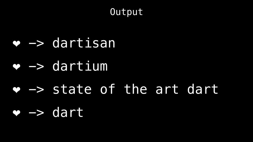 Output ❤ -> dartisan ❤ -> dartium ❤ -> state of...