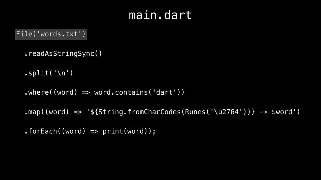 main.dart File('words.txt') .readAsStringSync()...