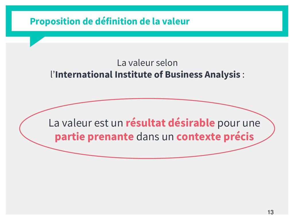 13 Proposition de définition de la valeur La va...