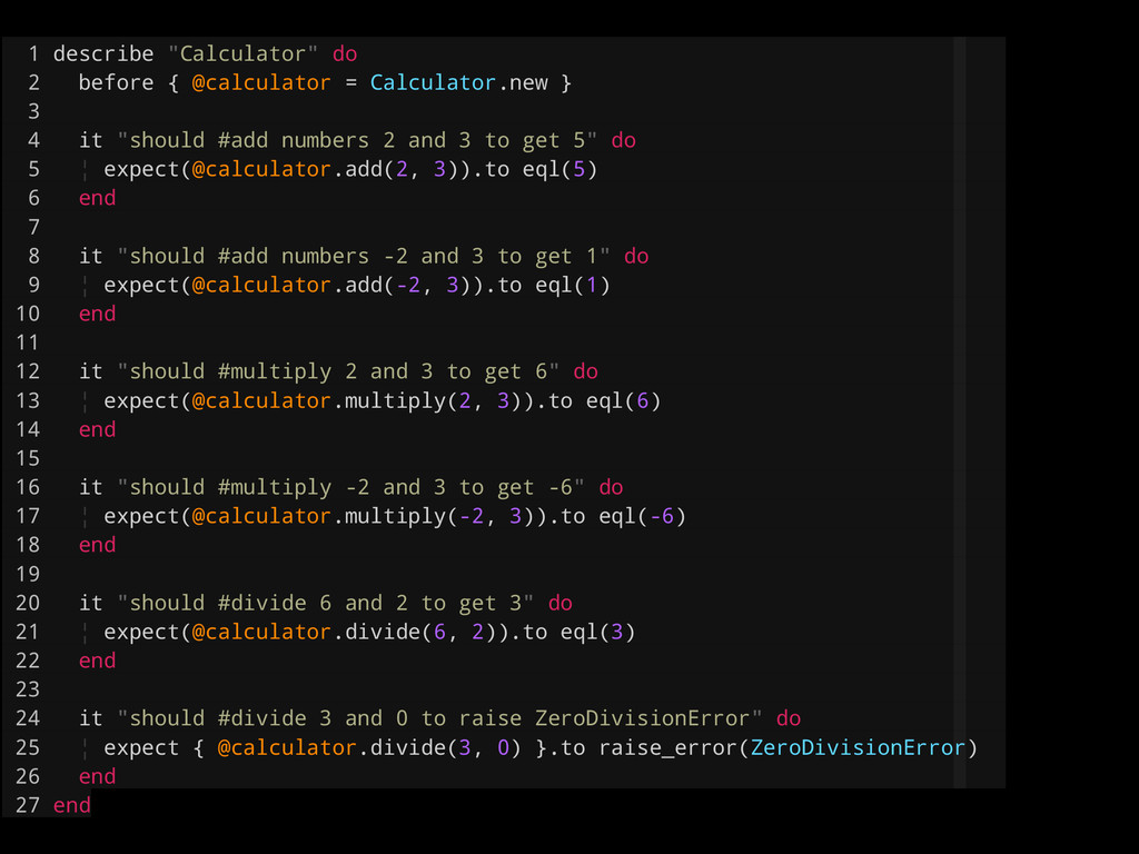 """1 describe """"Calculator"""" do 2 before { @calculat..."""