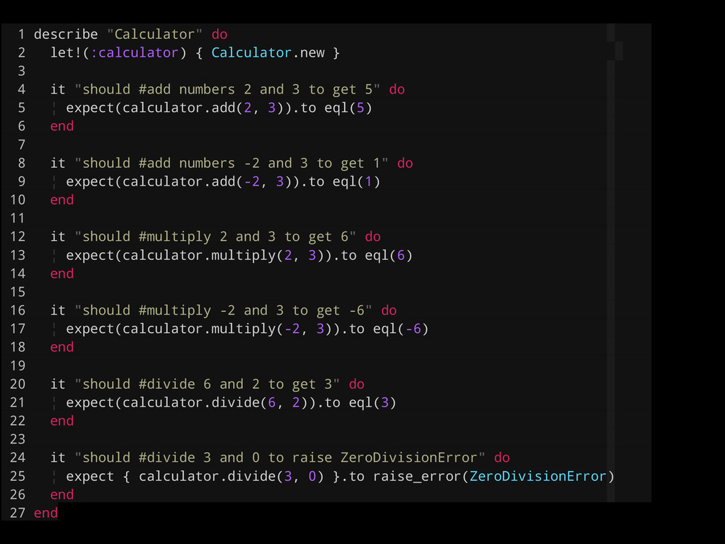 """1 describe """"Calculator"""" do 2 let!(:calculator) ..."""