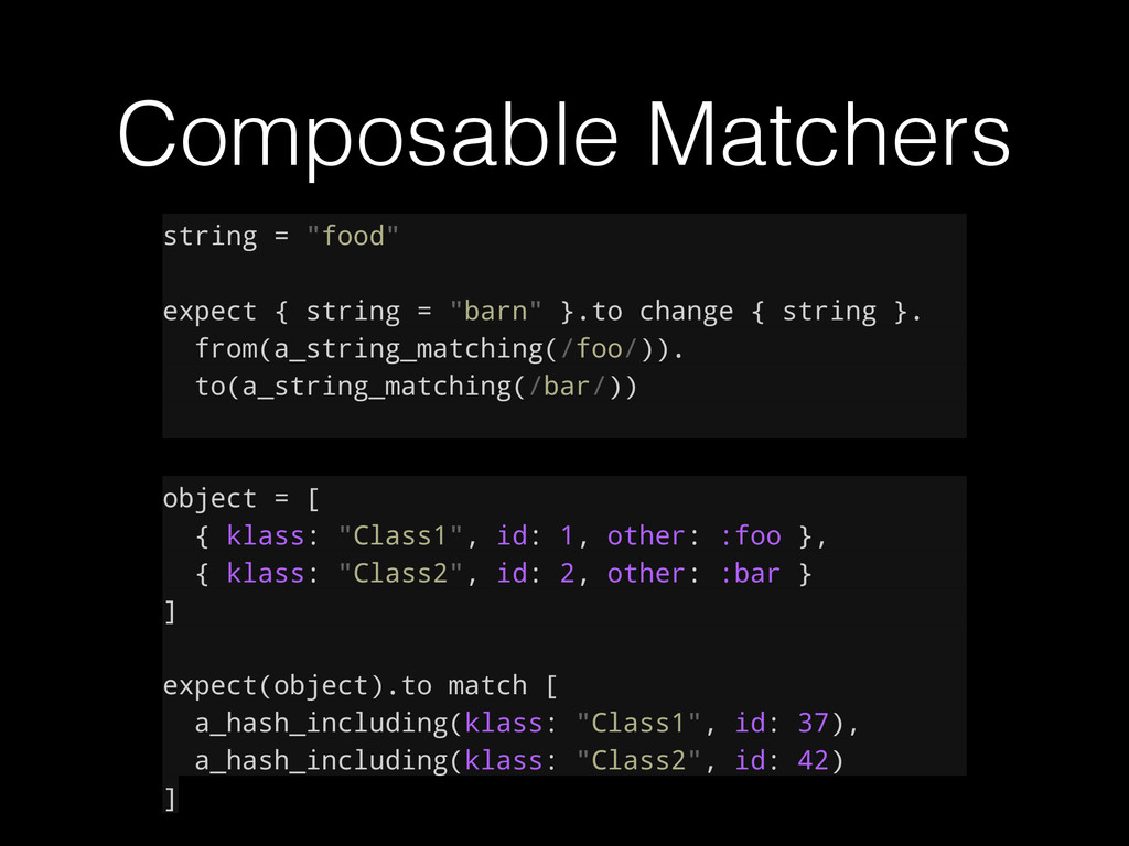 "Composable Matchers string = ""food"" expect { st..."