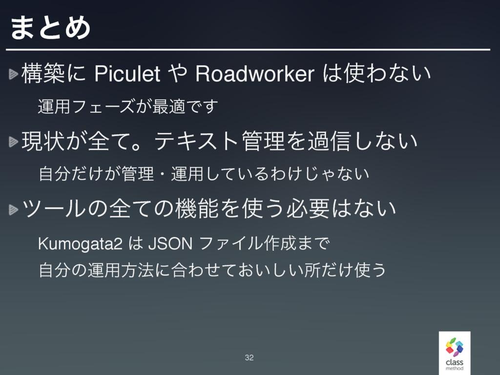 ·ͱΊ ߏஙʹ Piculet  Roadworker Θͳ͍ ɹӡ༻ϑΣʔζ͕࠷దͰ...