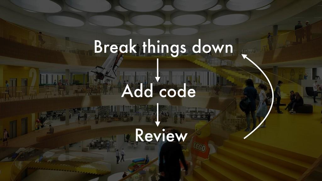 Review Break things down Add code