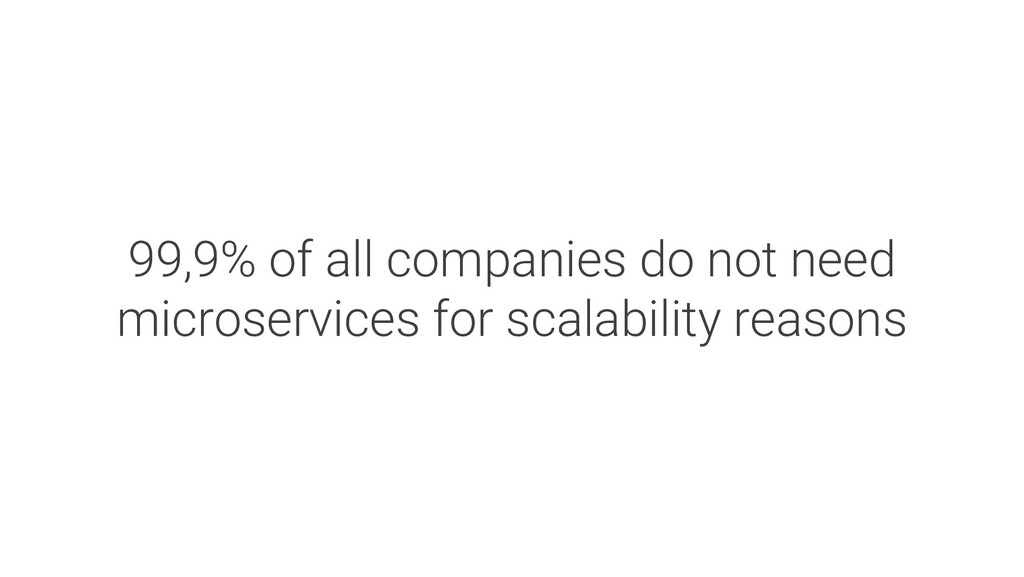 99,9% of all companies do not need microservice...
