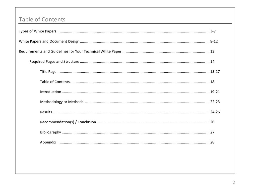 2 Table of Contents Types of White Papers ........