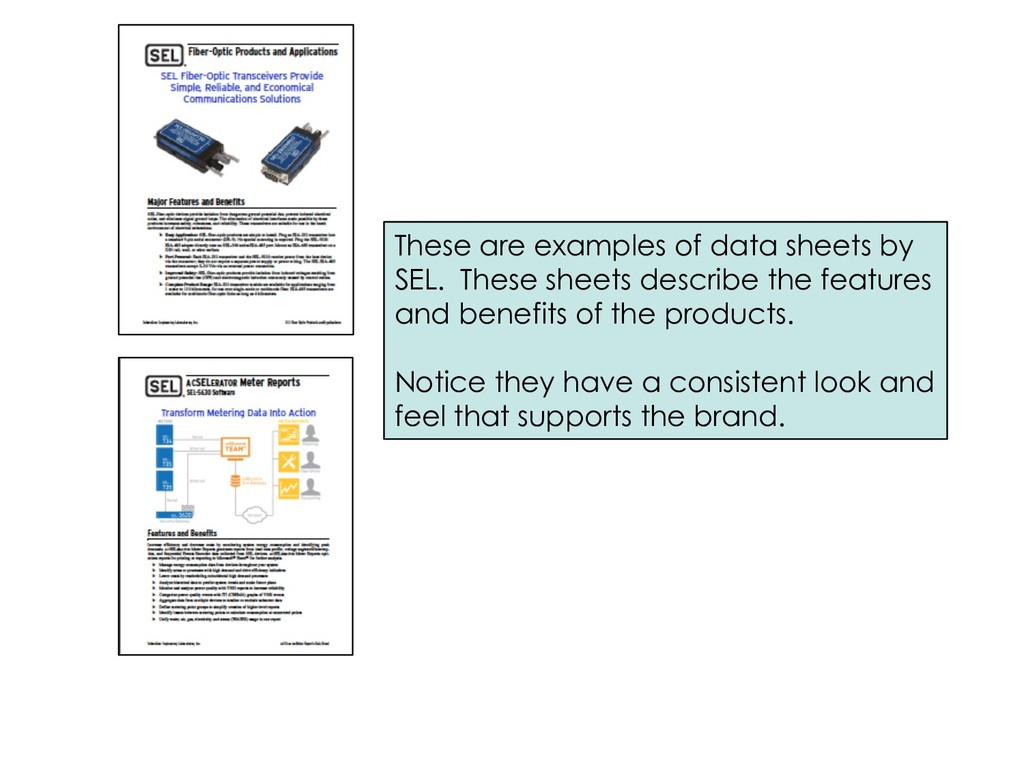 These are examples of data sheets by SEL. These...