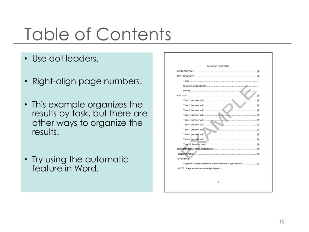 Table of Contents 18 • Use dot leaders. • Right...