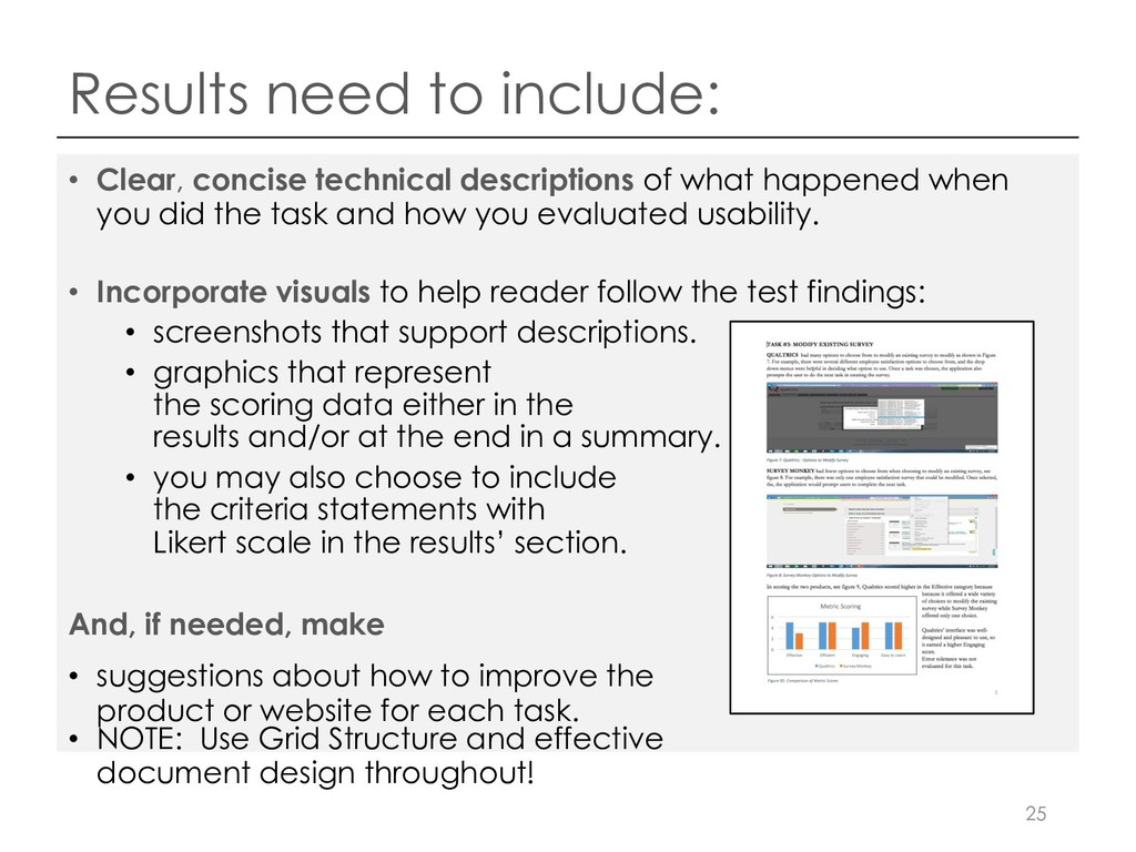 Results need to include: • Clear, concise techn...