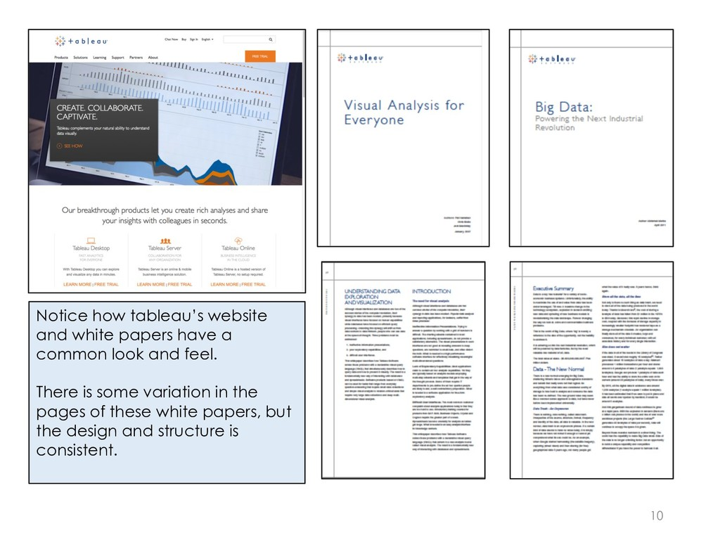10 Notice how tableau's website and white paper...