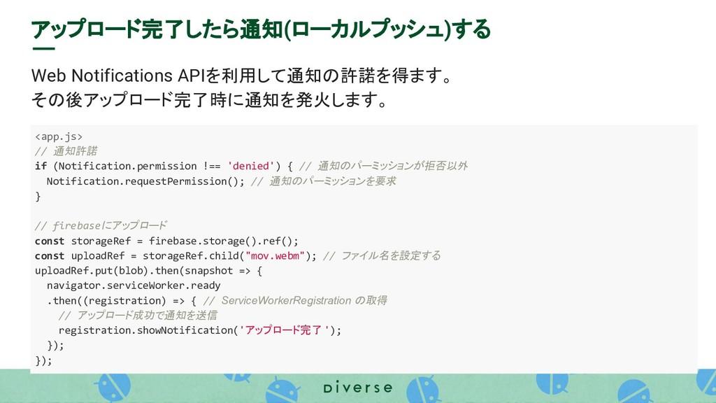 アップロード完了したら通知(ローカルプッシュ)する Web Notifications API...