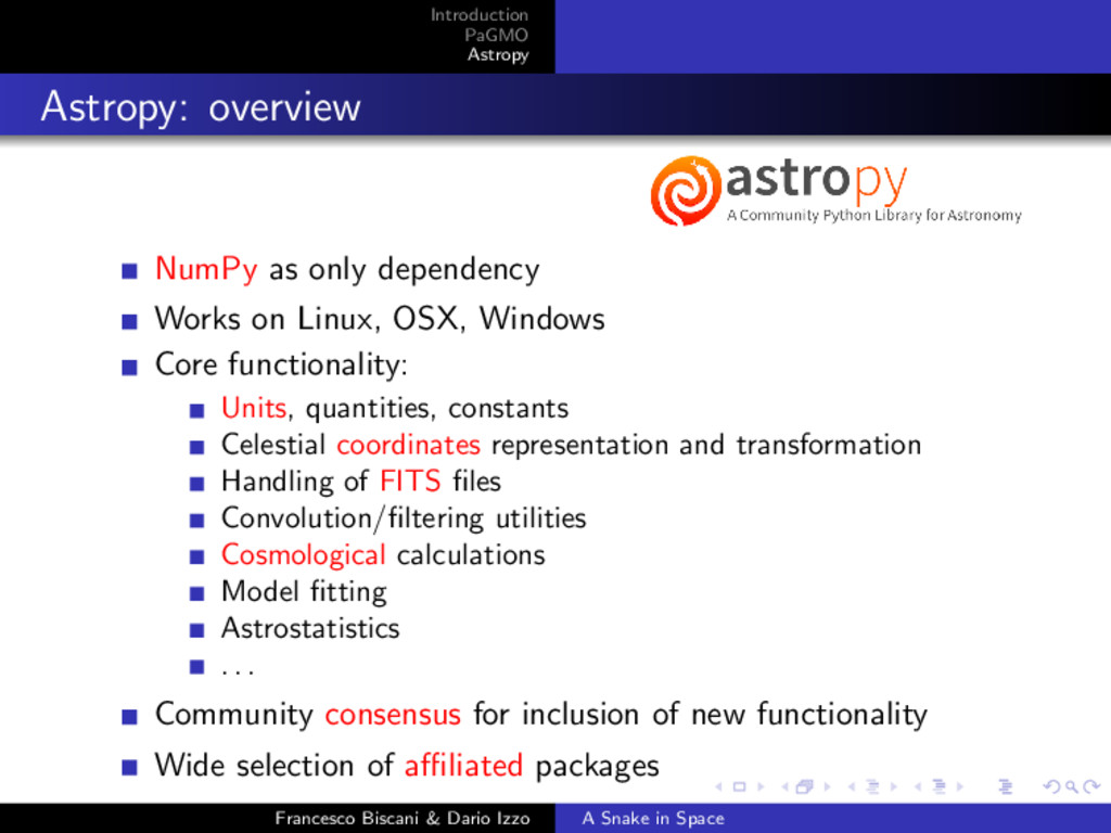 Introduction PaGMO Astropy Astropy: overview Nu...