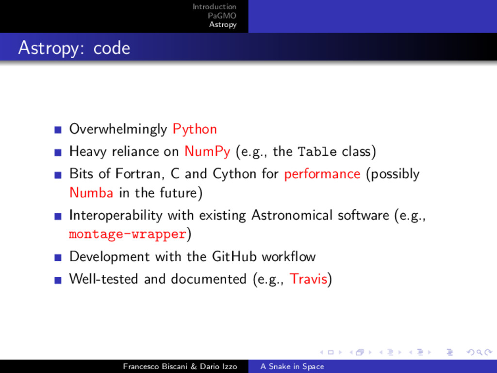 Introduction PaGMO Astropy Astropy: code Overwh...