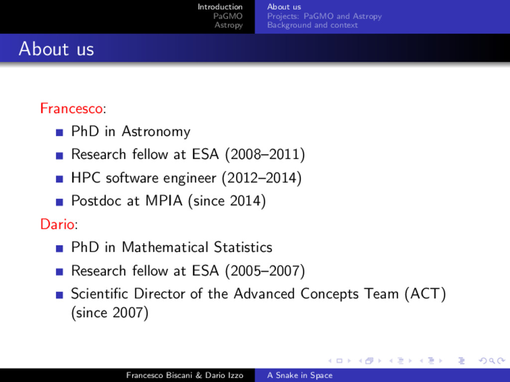 Introduction PaGMO Astropy About us Projects: P...