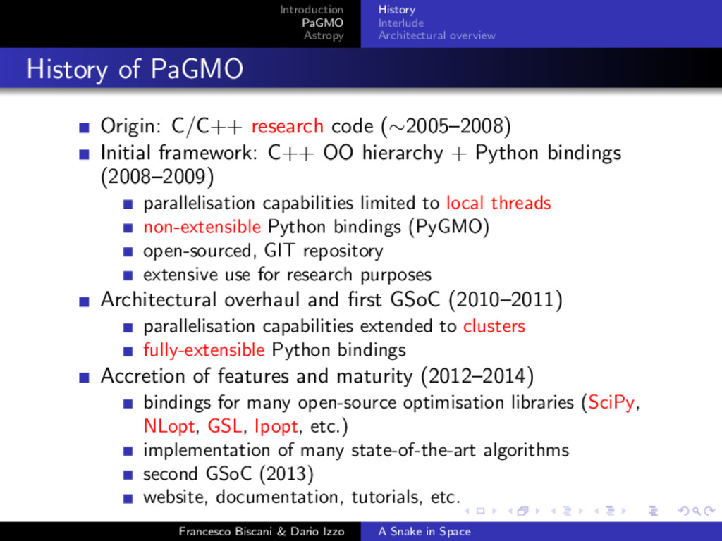 Introduction PaGMO Astropy History Interlude Ar...