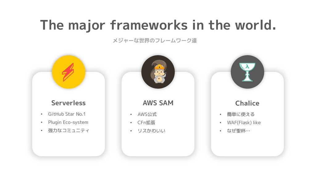 The major frameworks in the world. メジャーな世界のフレーム...
