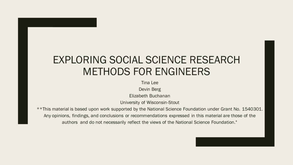 EXPLORING SOCIAL SCIENCE RESEARCH METHODS FOR E...