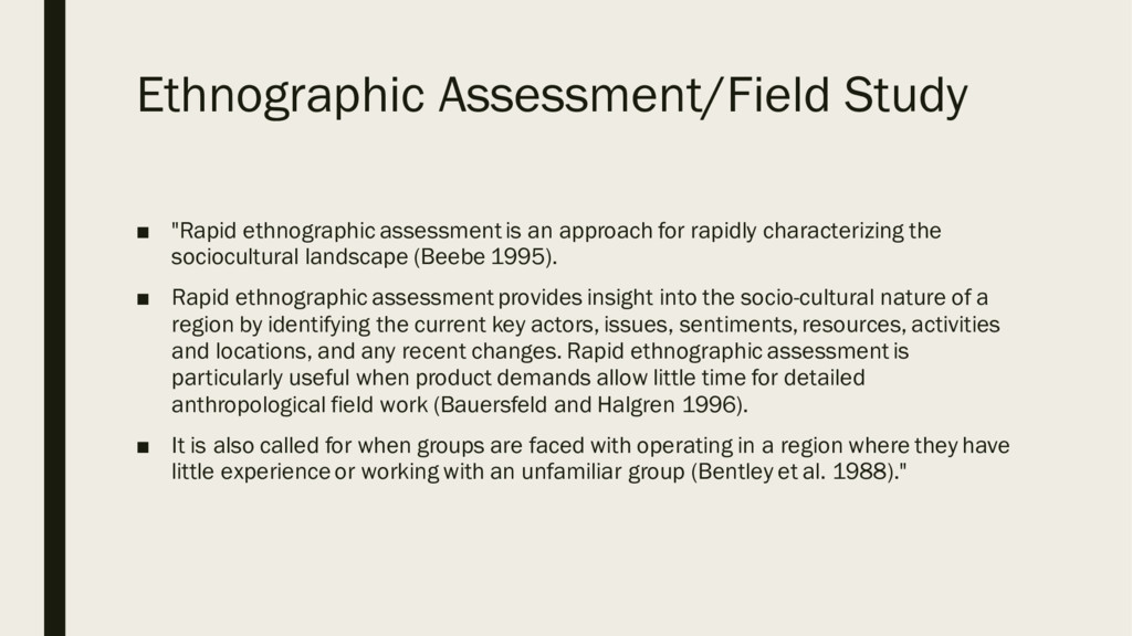 "Ethnographic Assessment/Field Study ■ ""Rapid et..."