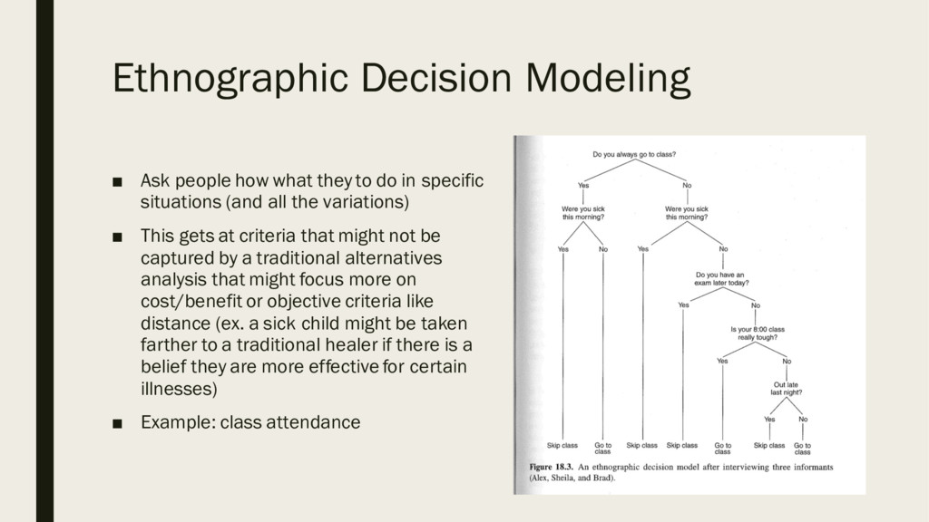 Ethnographic Decision Modeling ■ Ask people how...